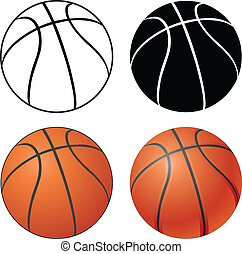 Basketball - Illustration of a Basketball in four versions ...