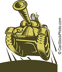 illustration of a Battle tank flying with soldier pointing forward