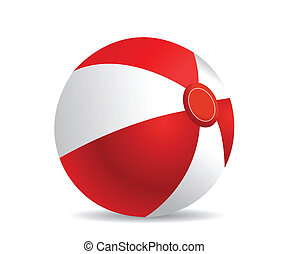 beach ball - Illustration of a beach ball on a white...