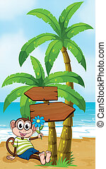 Illustration of a beach with a smiling monkey sitting under...