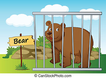 illustration of a bear in cage and wooden board