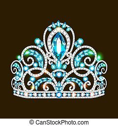 Illustration of a beautiful crown, tiara tiara with gems and pearls. Vector crown element for design