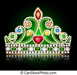 Illustration of a beautiful diadem crown womens with precious stones and heart on a dark background with reflection