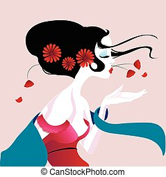 illustration of a beautiful geisha in red dress. very gentle and passionate.