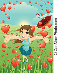 Illustration of a beautiful girl in a hearts rain.