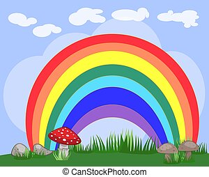 illustration of a beautiful summer landscape with a rainbow