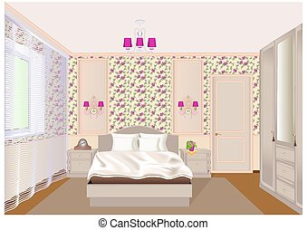Illustration of a bedroom interior with light floral wallpaper, bed, bedside tables and a wardrobe.