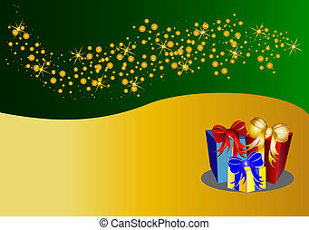 bicolor christmas background with stars and present