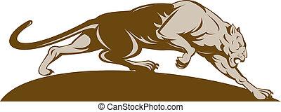 illustration of a big cat stalking