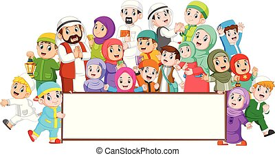 A big muslim family are gathering near the blank board