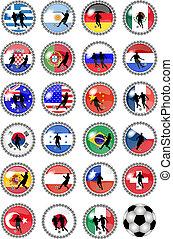 big set of soccer buttons - national teams