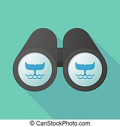 Illustration of a binoculars viewing a whale tail