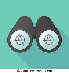 Illustration of a binoculars viewing an anarchy sign