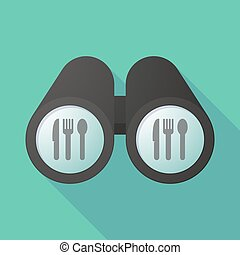 Illustration of a binoculars viewing cutlery