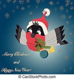 illustration of a bird bullfinch in a Santa Claus hat flying with a spruce branch and a Christmas ball in its beak among snowflakes, flat style