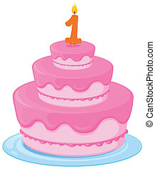 birthday cake - illustration of a birthday cake on a white...