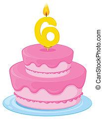 birthday cake - illustration of a birthday cake on a white...