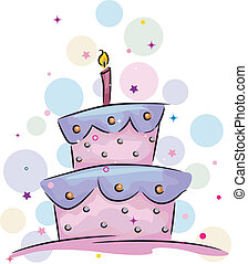 Illustration of a Birthday Cake with a Candle on Top