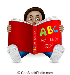 Illustration of a black boy reading