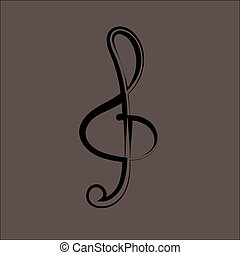 Illustration of a black clef isolated on white background VECTOR