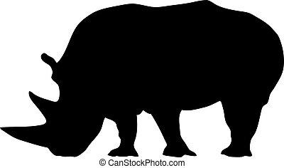 illustration of a black rhino silhouette