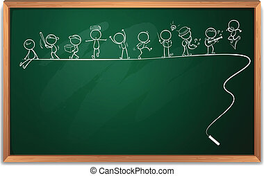 Illustration of a blackboard with a drawing of people engaging in different activities on a white background