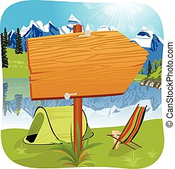 illustration of a blank wooden board standing near the entrance of a campsite