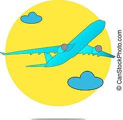 Illustration of a blue airplane with yellow circle background