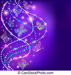 illustration of a blue background butterflies and stars with precious stones