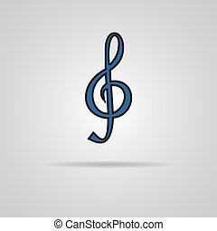 Illustration of a blue clef isolated on grey