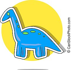 Illustration of a blue dinosaur with yellow circle background