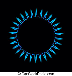 gas flame from above - illustration of a blue gas flame from...