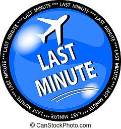blue last minute button - illustration of a blue last minute...