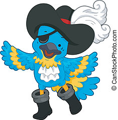 Pirate Parrot - Illustration of a Blue Pirate Parrot wearing...
