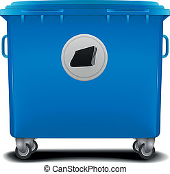 blue recycling bin - illustration of a blue recycling bin...