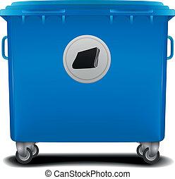 blue recycling bin - illustration of a blue recycling bin...