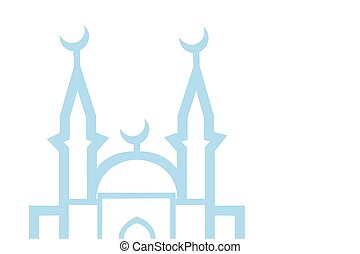 illustration of a blue religious background with mosque on white, eps10 vector