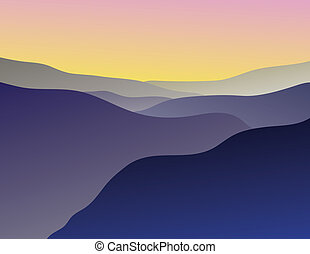 Mountain Vista - Illustration of a Blue Ridge Mountain Vista
