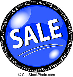 blue sale button - illustration of a blue sale button