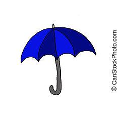 Illustration of a blue umbrella