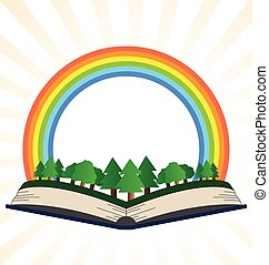 Illustration of a book with a rainbow at the forest