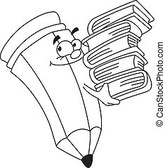 bookish pencil outlined - illustration of a bookish pencil ...