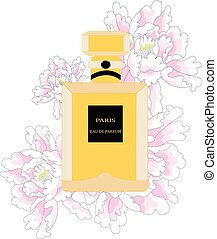 illustration of a bottle of perfume with pink peonies