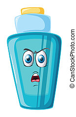 a bottle with face