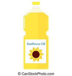 Illustration of a bottle with sunflower oil - Vector...