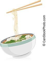 Wonton Noodles - Illustration of a Bowl of Wonton Noodles...