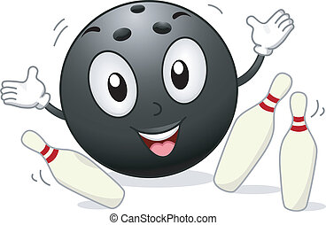 Illustration of a Bowling Mascot Surrounded by Bowling Pins