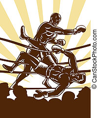 Boxer knocking out opponent out of boxing ring -...