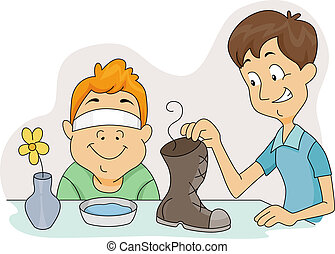 Smelly Shoe - Illustration of a Boy About to Sniff a Smelly ...