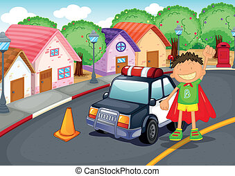 a boy and car - illustration of a boy and car on road